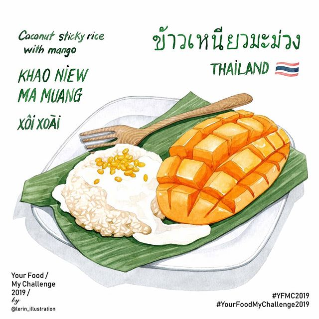 Thai coconut rice with mango illustrated by Le Rin