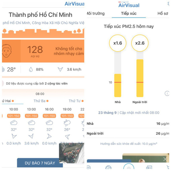 Air Quality Index provided by Air visual. Photo: Xuan Mai / Tuoi Tre