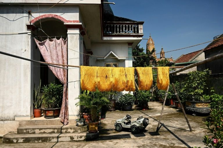 Once the yellow and white silk fibres are spun onto wooden reels, workers hang them in the sun to dry. Photo: AFP
