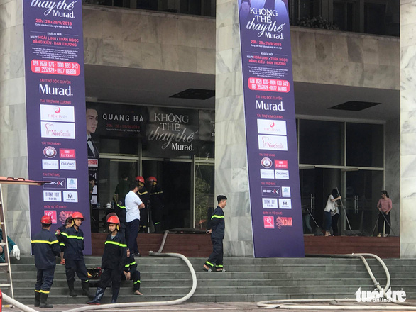 Roll-up banners with information about the live show of Quang Ha are seen in front of the Hanoi Cultural Palace on September 28, 2019. Photo: Danh Trong / Tuoi Tre