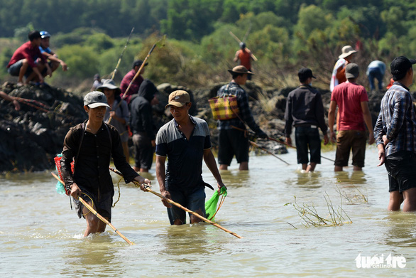 People use electrofishing equipment to catch fish near the Tri An hydropower dam in Dong Nai Province, Vietnam on September 30, 2019. Photo: A Loc / Tuoi Tre