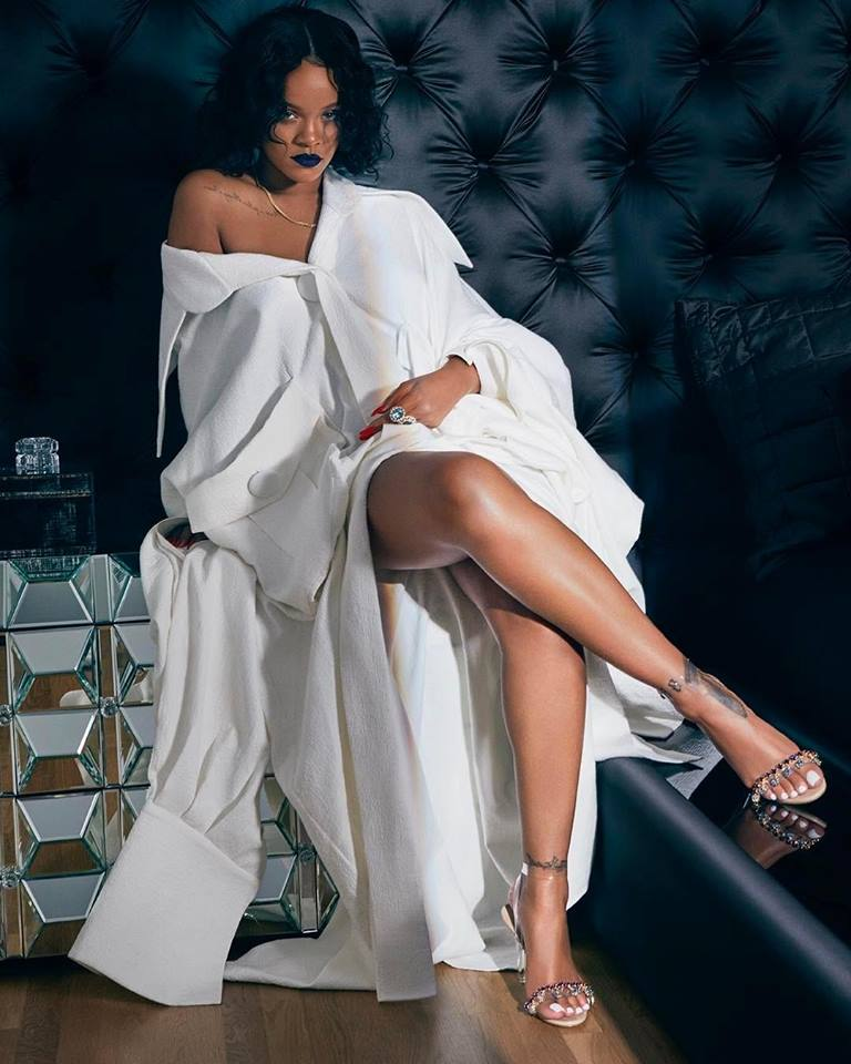 Rihanna is seen in a photo released by herself, which captures her in a design by Cong Tri in 2017