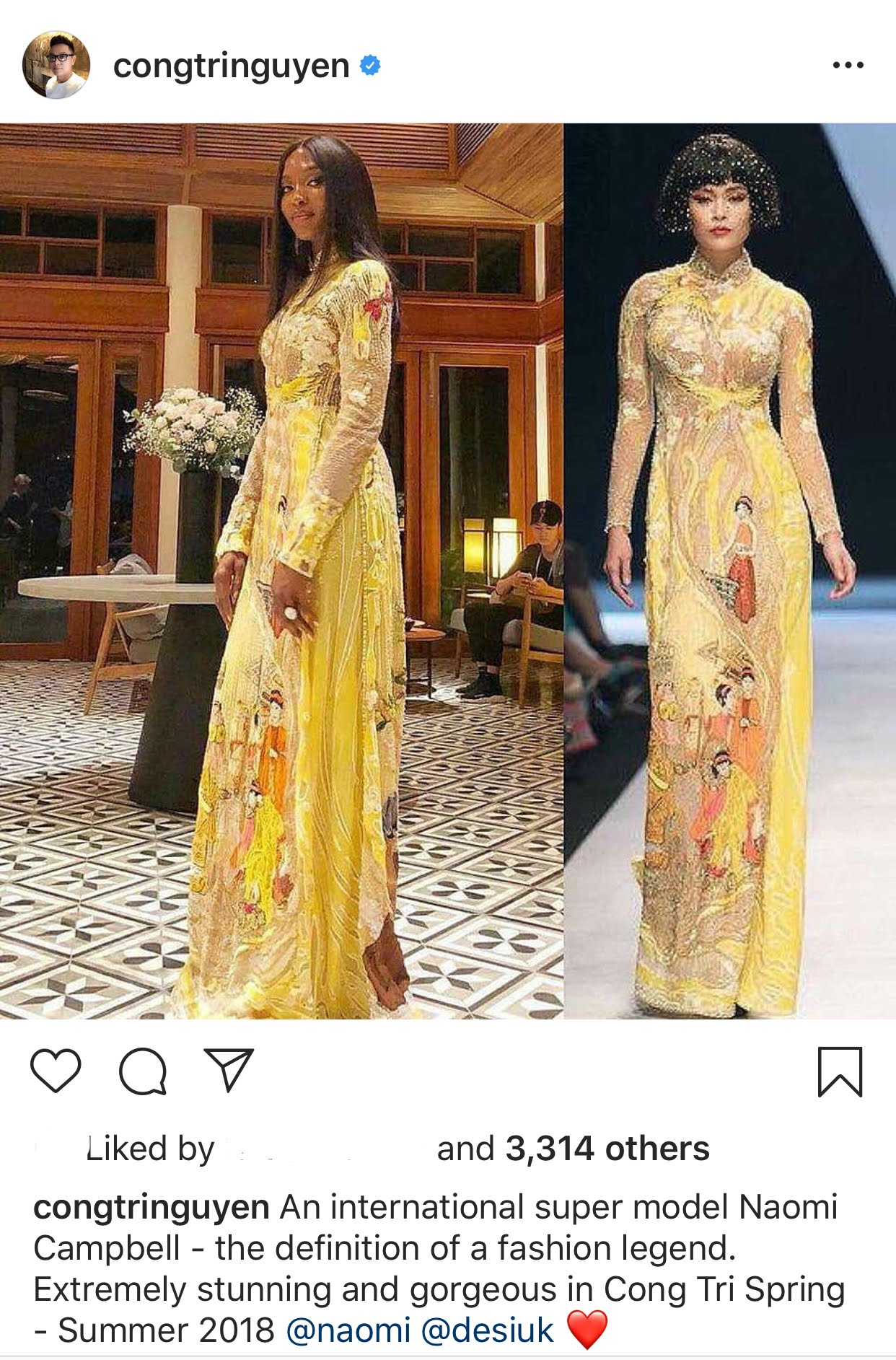 A screenshot showing a picture the Vietnamese designer shares on his verified Instagram handle in which famous model Naomi Campbell donned an ao dai by Cong Tri.
