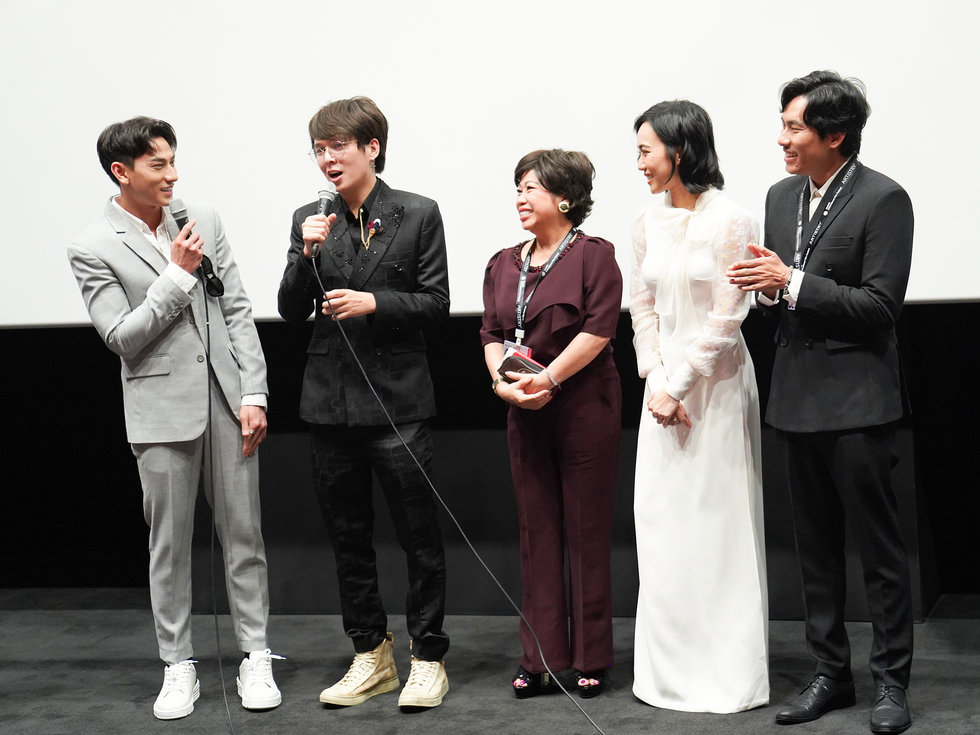 The cast and crew of Vietnamese film 'Anh Trai yeu Quai' (Dear Devil Brother) talk with fans after a screening at the 24th Busan International Film Festival in Busan, South Korea. Photo: CJ
