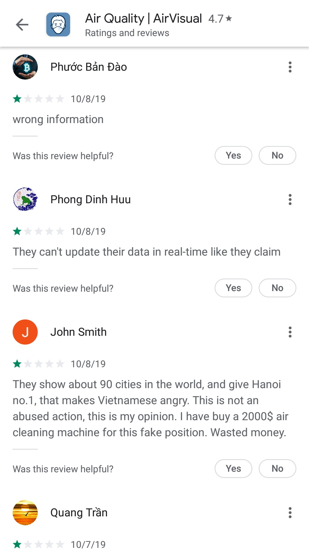 One-star reviews for the AirVisual mobile app on the Google Play Store are seen in this screen grab taken on October 8, 2019.
