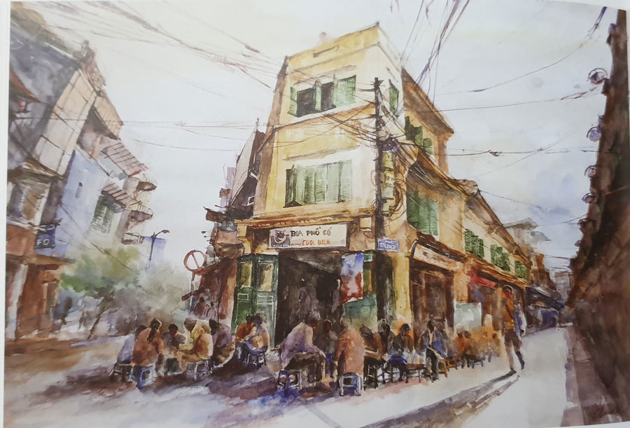 A painting depicts a street corner of the Old Quarter in Hoan Kiem District, Hanoi.
