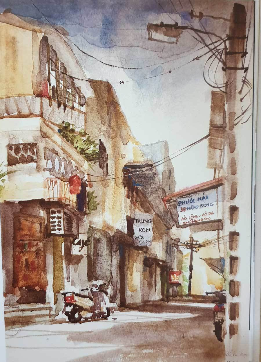 A painting depicts Hang Bong Street in Hoan Kiem District, Hanoi.