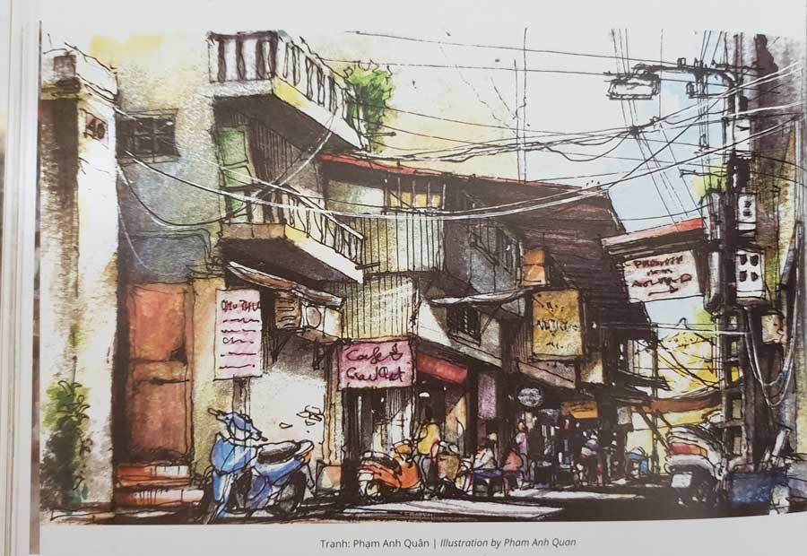 A painting by Pham Anh Quan depicts an alley in Hanoi.