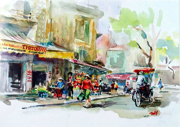 A painting by Tran Thi Thanh Thuy depicts Hang Be Street in Hoan Kiem District, Hanoi.