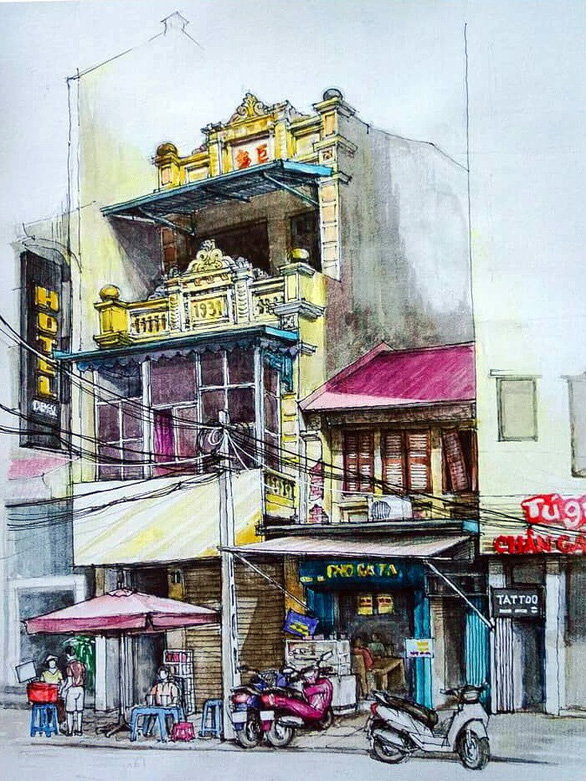 A painting by Tran Kim Oanh features Hang Thung Street in Hoan Kiem District, Hanoi.
