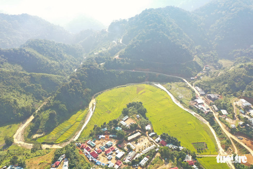 Terraced fields in central Vietnam seen from a bird's eye view