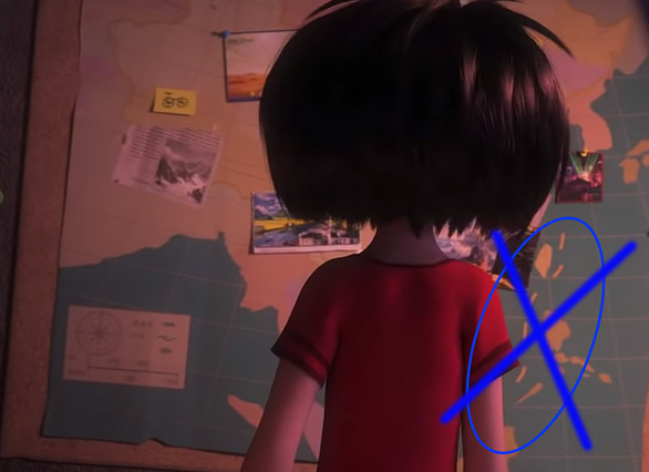 The illegal Chinese 'nine-dash line' is depicted on a map in the 2019 animated film 'Abominable.'