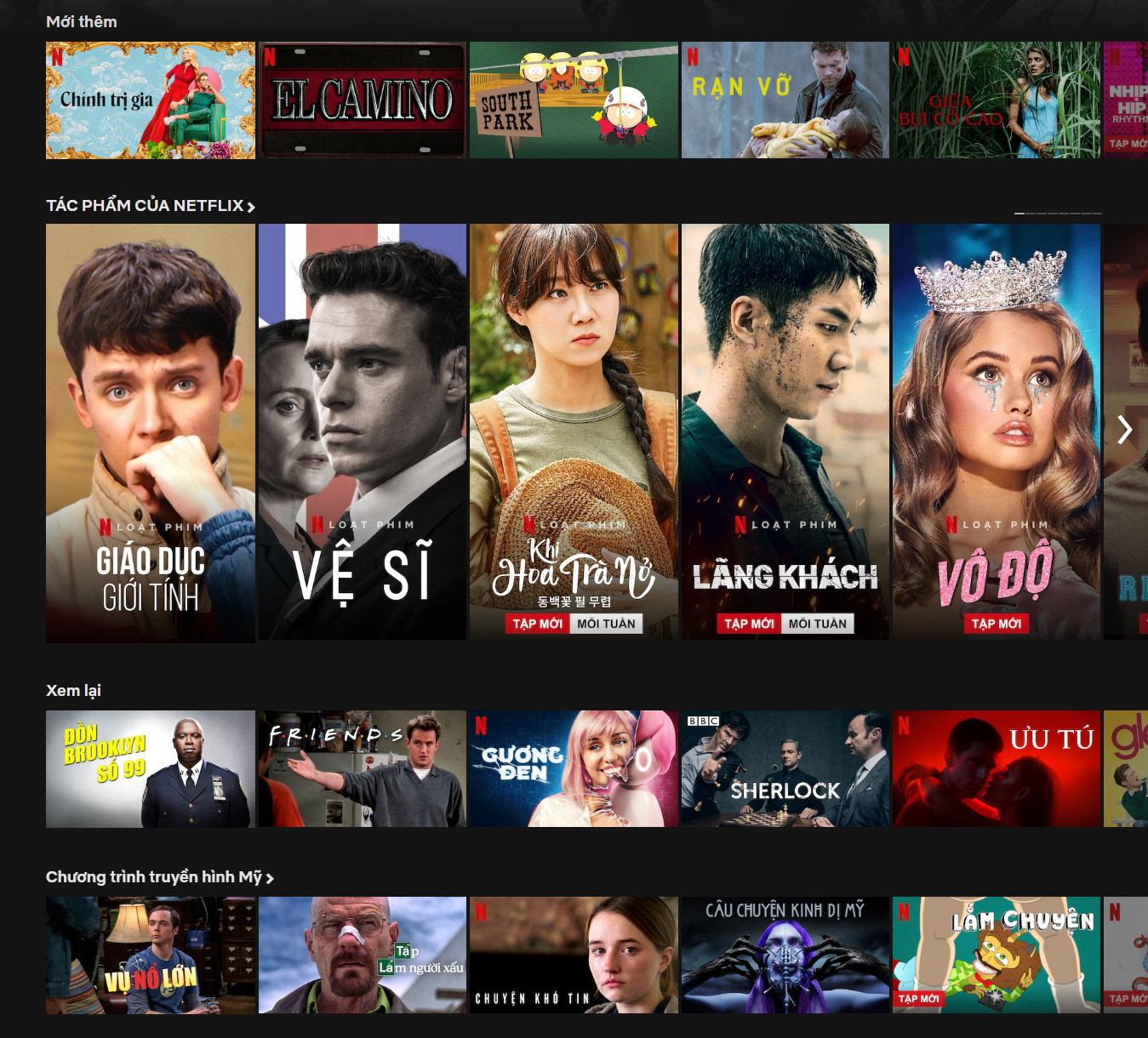 The Vietnamese user interface of Netflix is seen in this screen grab.