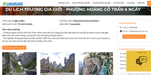 Tours to Zhangjiajie and Fenghuang Ancient Town, China are advertised on the website of Vietnamese holiday firm Saigontourist in this screen grab.