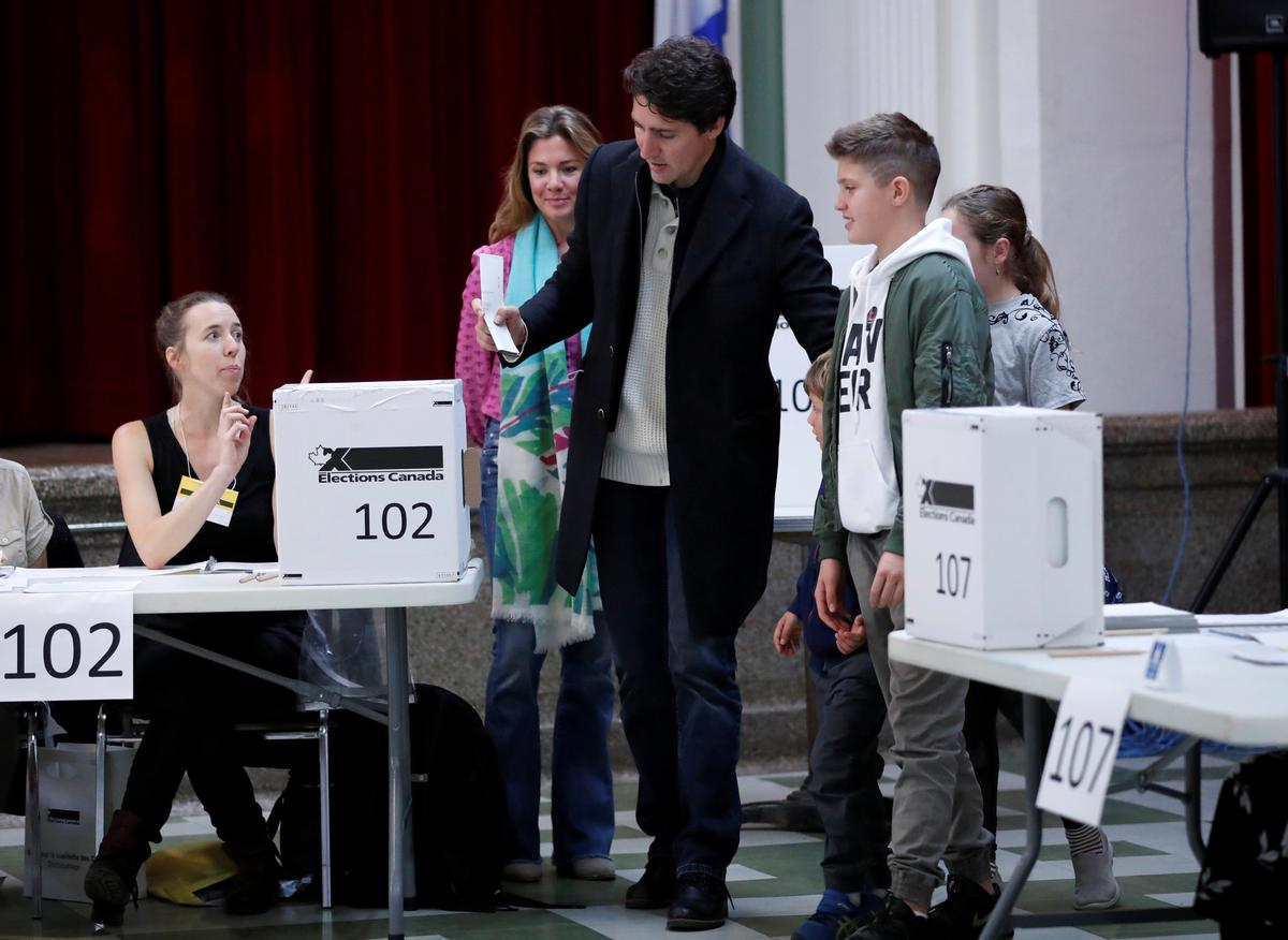 Liberal leader and Canadian Prime Minister Justin Trudeau, accompanied by his wife Sophie Gregoire Trudeau, their sons Xavier and Hadrien, and their daughter Ella-Grace, votes in the federal election in Montreal, Quebec, Canada October 21, 2019. Photo: Reuters