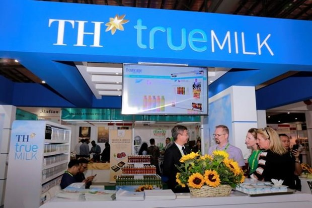 A TH Milk stall is seen at a dairy products fair. Photo: Vietnam News Agency