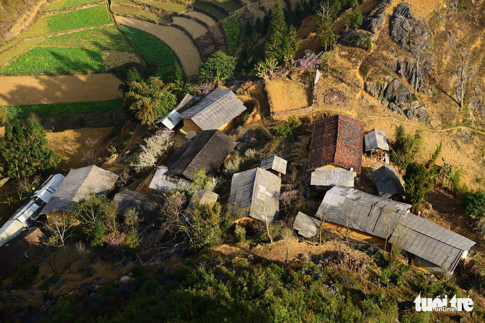 An aerial view of local people's houses in Lung Cu Town, Dong Van District, Ha Giang Province, Vietnam. Photo: Quang Dinh / Tuoi Tre