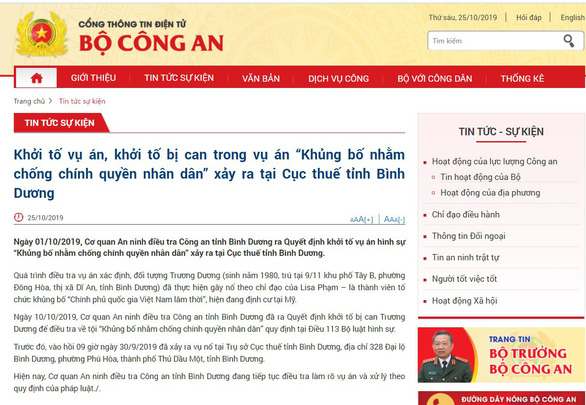 A screenshot captures information surrounding the explosion at Binh Duong tax department released on the portal of the Ministry of Public Security on October 25, 2019