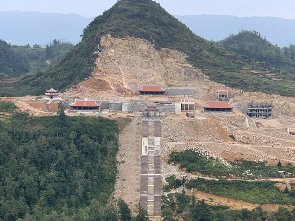 A religious tourism project is under construction in Lung Cu Commune, Dong Van District, Ha Giang Province, Vietnam in this photo taken on October 20, 2019. Photo: Huu Thang / Tuoi Tre