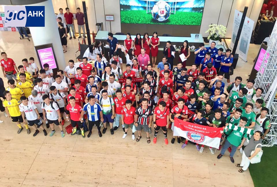 """Contestants gather before the """"Bundesliga Penalty Shootout"""" takes place at the Deutsches Haus Ho Chi Minh City in District 1, October 26, 2019, in this photo uploaded on the Facebook page of the event."""