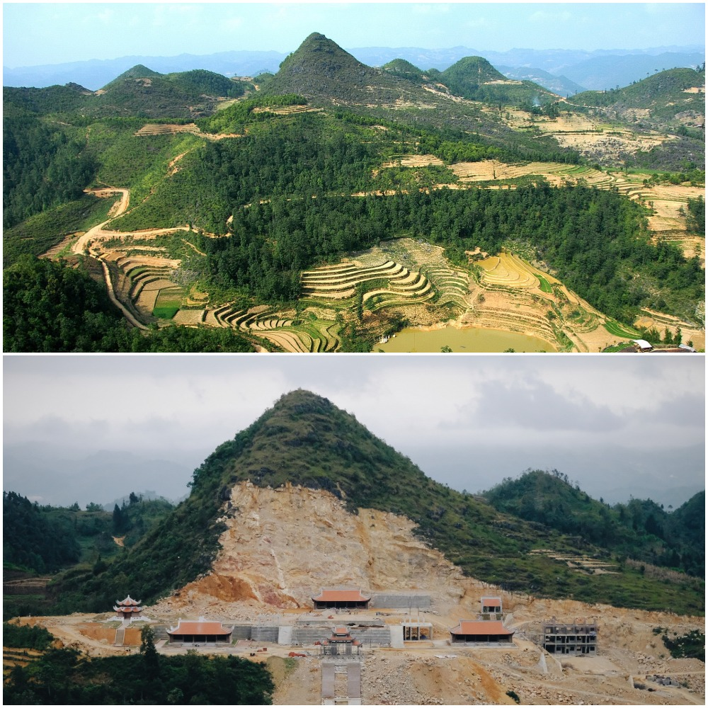 A mountain to the northeast of Lung Cu National Flag Tower is photographed before (A) and after it was flattened. Photo: T.T.D. - Mai Thuong / Tuoi Tre