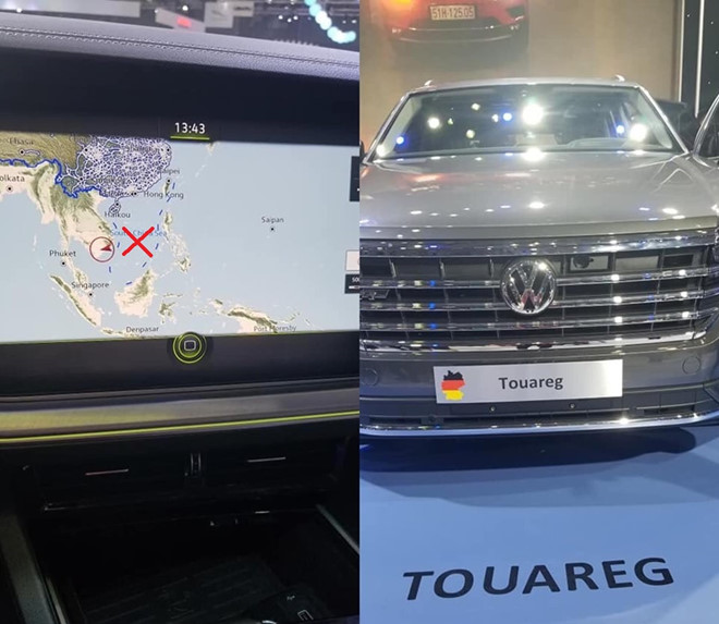 A photo surfaces on the Internet showing the 'nine-dash line' depicted on a map used in the default navigation app of a Volkswagen's Touareg car on display