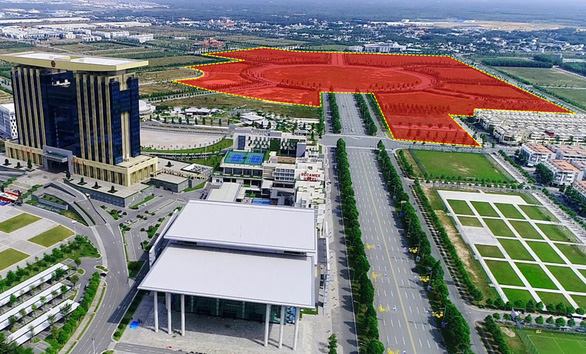 The planned location (in red) for the World Trade Center in the Binh Duong New City, located in the namesake southern Vietnamese province. Photo: B.C.M.