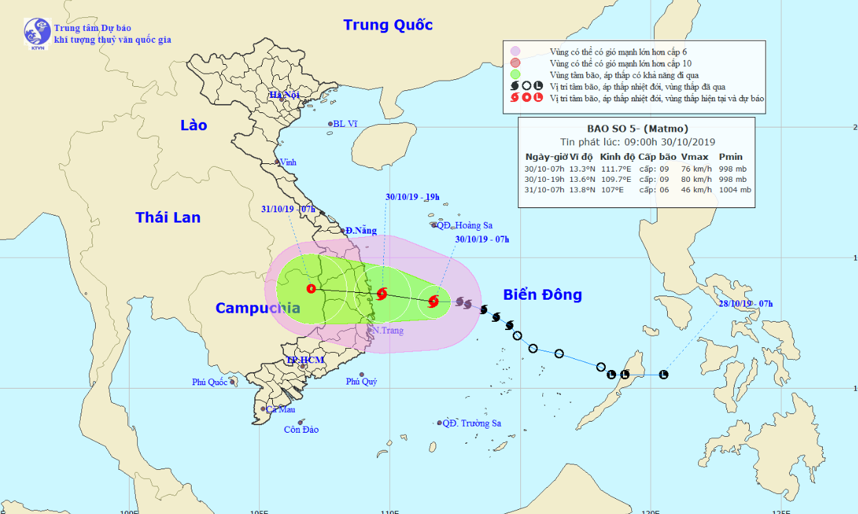A map detailing the route of Tropical Storm Matmo on October 30 and 31, 2019. Photo: National Center for Hydro-meteorological Forecasting