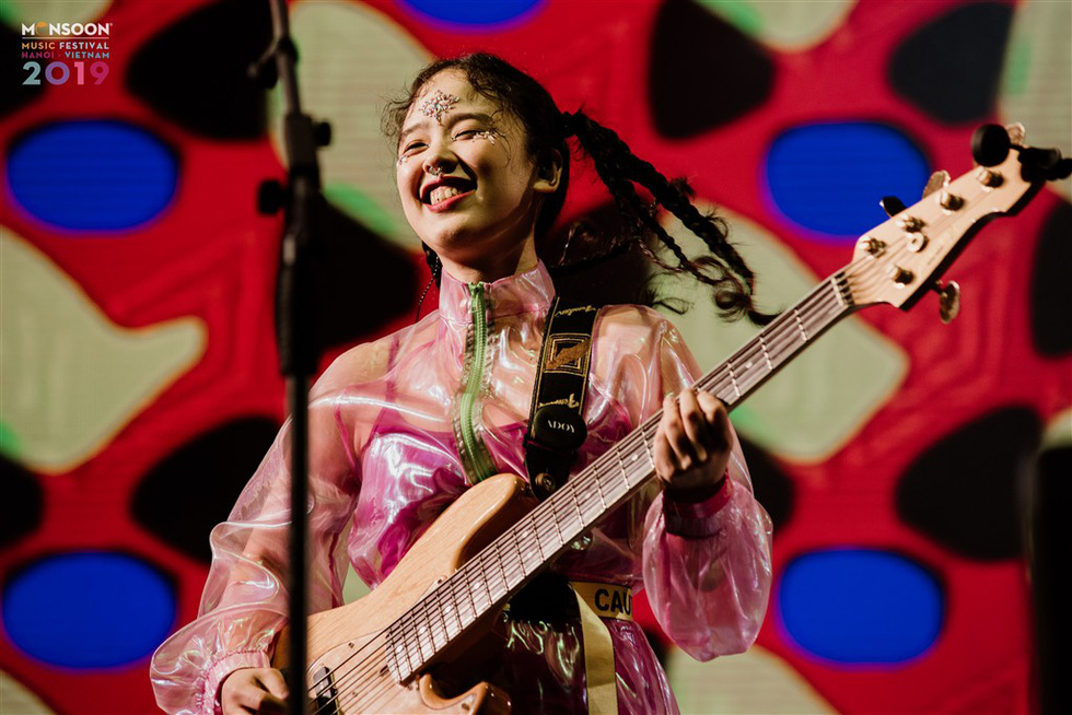 The guitarist of South Korean electronic rock band ADOY performs at the 2019 Monsoon Music Festival in Hanoi, November 1, in this photo from the organizer