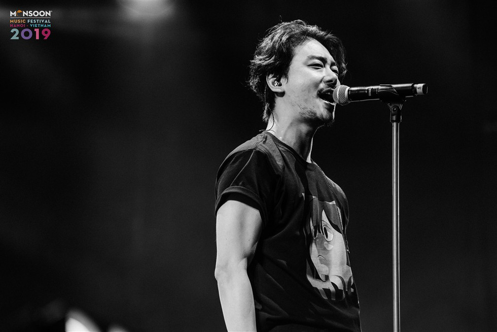 The main vocalist of South Korean electronic rock band ADOY performs at the 2019 Monsoon Music Festival in Hanoi, November 1, in this photo from the organizer