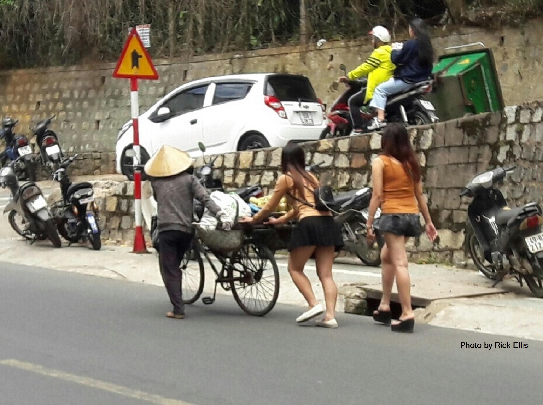 Helping an elderly vendor