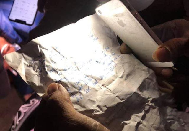 The suicide note left behind by a woman who jumped off Khue Bridge in Hai Phong, Vietnam on November 5, 2019. Photo: Facebook