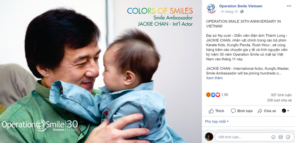 Operation Smile bashed for inviting Jackie Chan, an alleged 'nine-dash line' supporter, to Vietnam