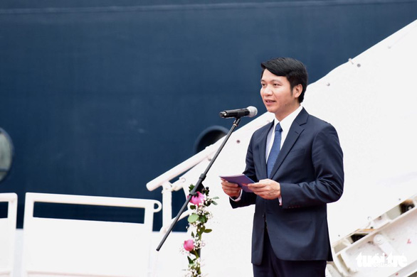 Nguyen Ngoc Luong, secretary of the Central Committee of the Ho Chi Minh Youth Union and vice chairman of the National Council of Youth, speaks at the reception ceremony for the SSEAYP 2019 at Cat Lai Port in District 2, Ho Chi Minh City, November 10, 2019. Photo: Duyen Phan / Tuoi Tre