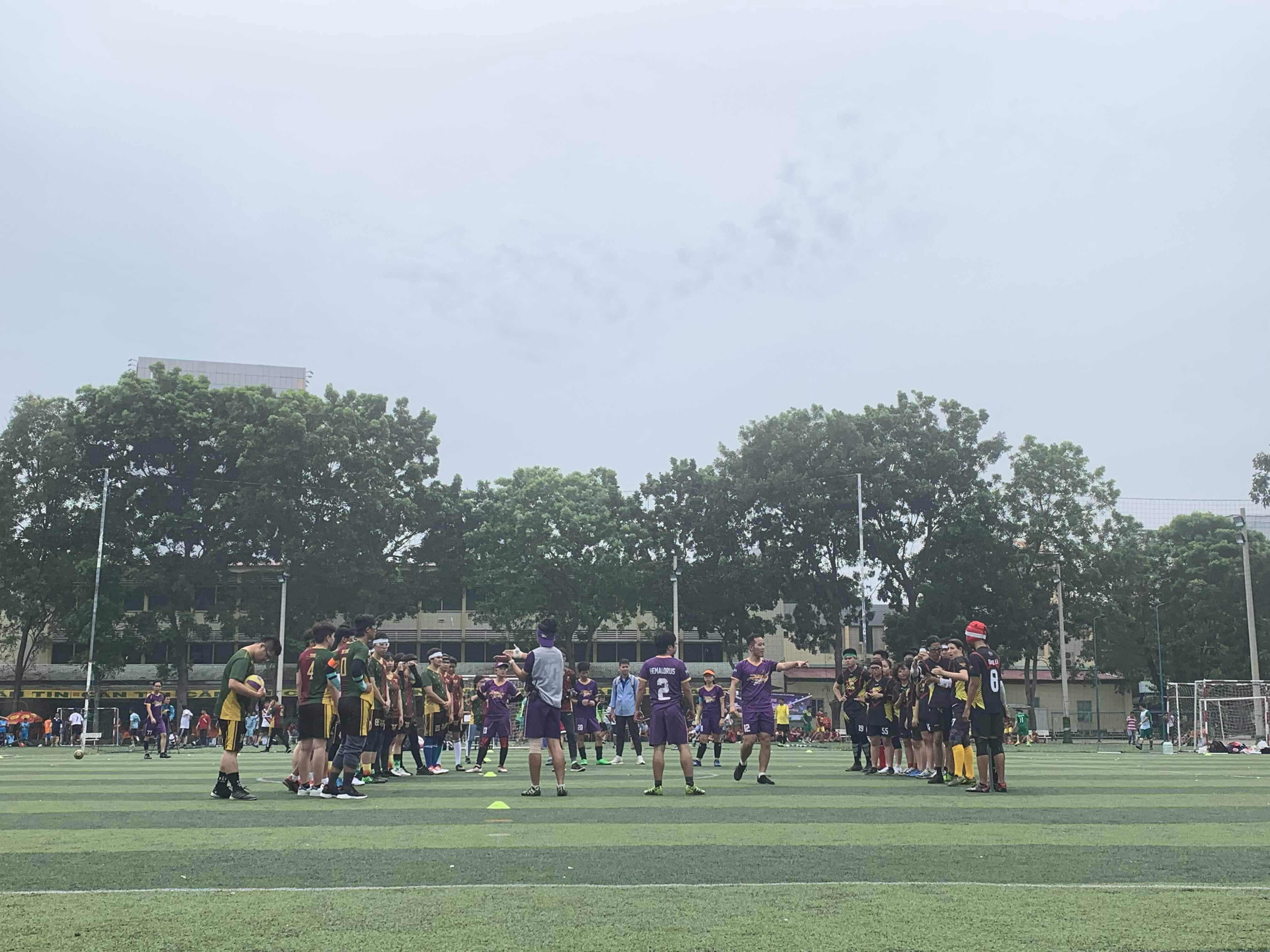 Two teams greet before a match in the maiden Vietnam Quidditch Cup organized by the Vietnam Quidditch Association  in Tan Binh District, Ho Chi Minh City, November 10, 2019 in this provided photo