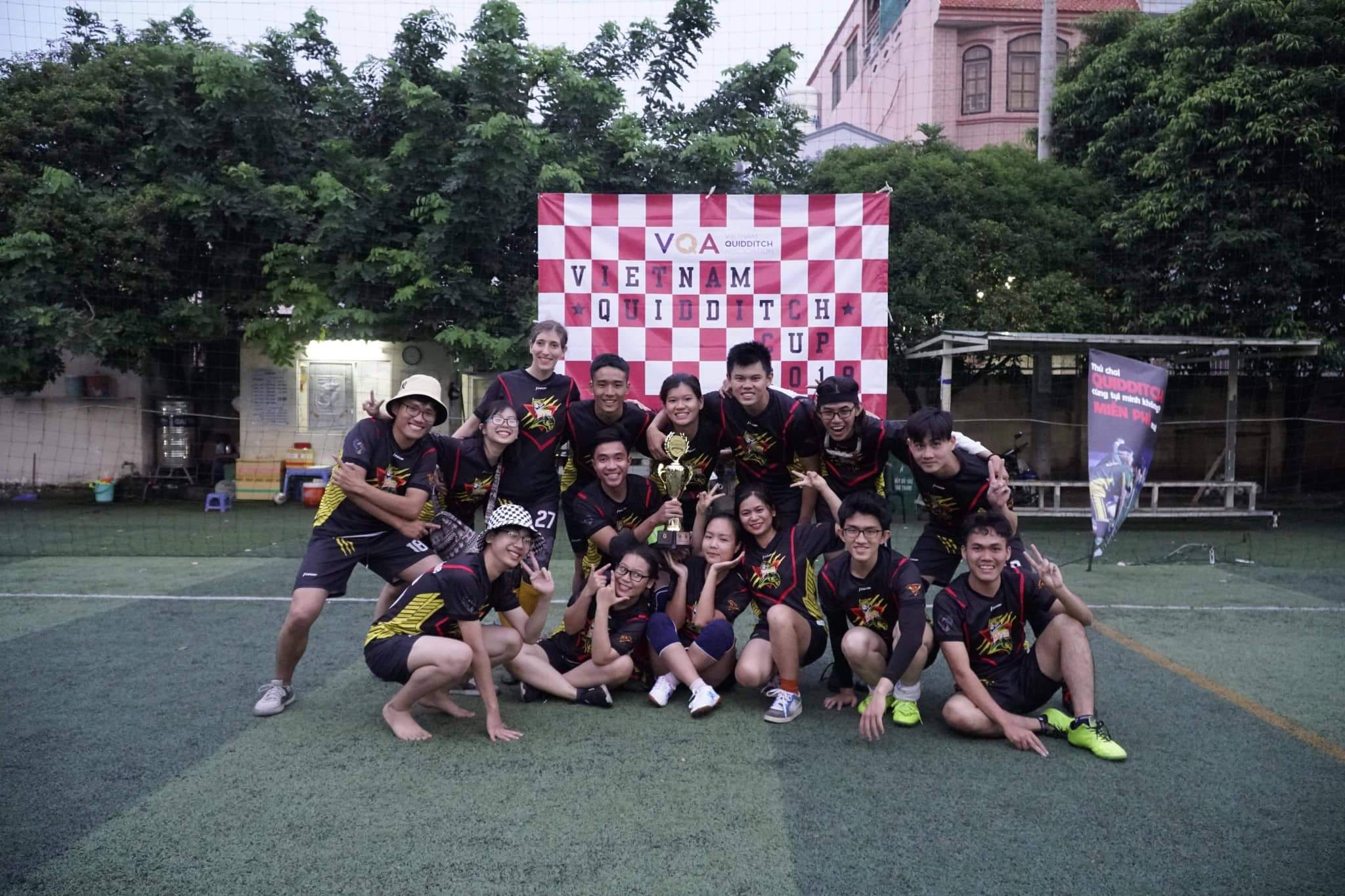 The winning team poses for a photo at the maiden Vietnam Quidditch Cup organized by the Vietnam Quidditch Association  in Tan Binh District, Ho Chi Minh City, November 10, 2019 in this provided photo