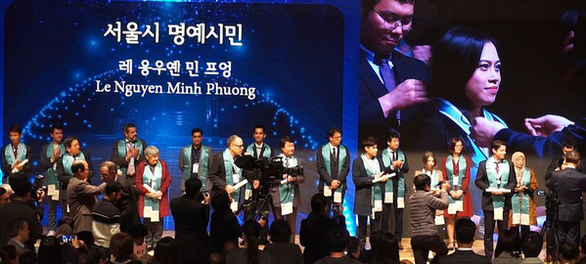 <em>Le Nguyen Minh Phuong receives the Seoul Honorary Citizenship in Seoul, South Korea, November 13, 2019 in this photo uploaded to her Facebook account.</em>