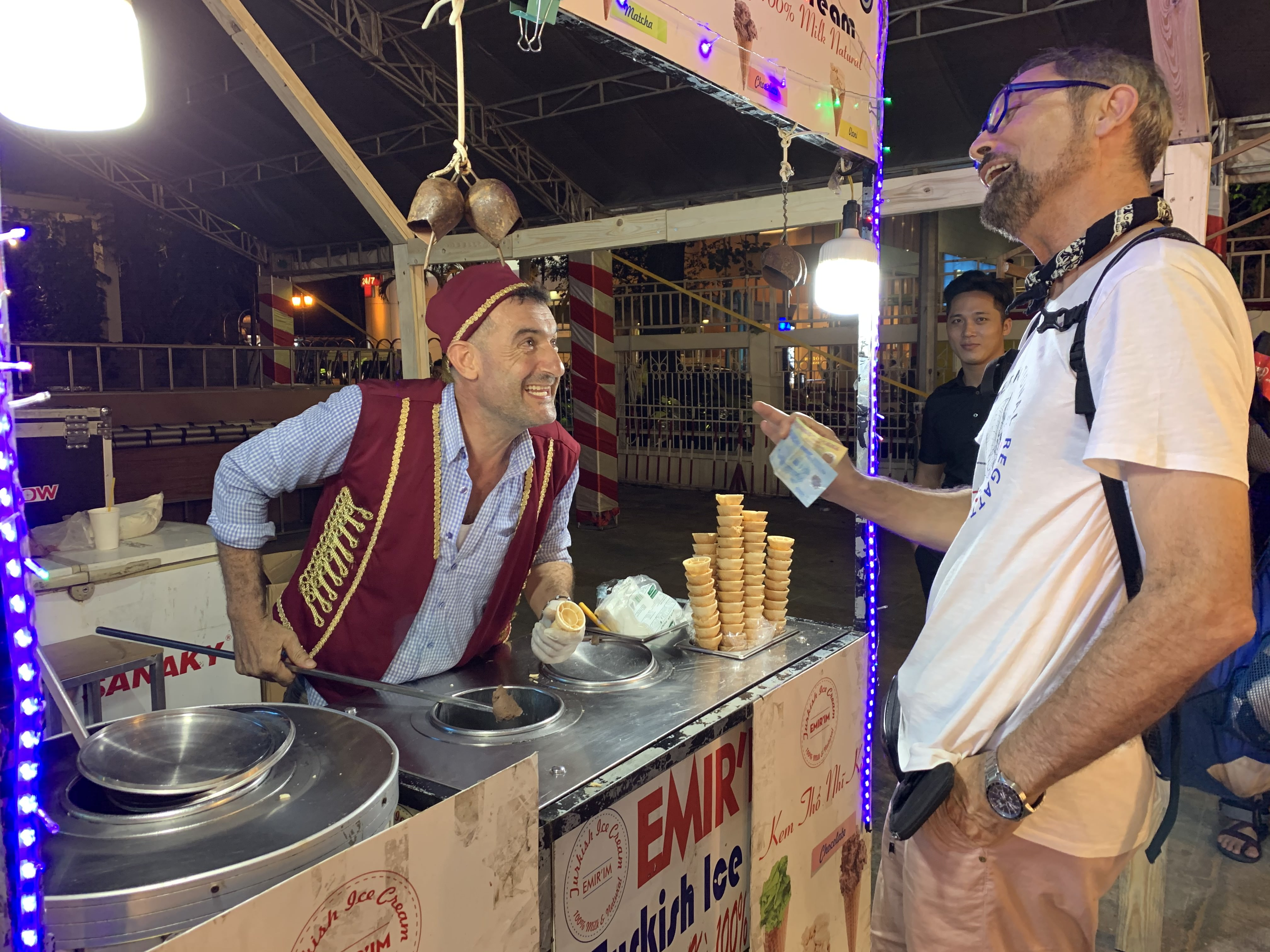 A Turkish ice cream stall at the international food festival held at the Youth Cultural House in District 1, Ho Chi Minh City, November 14, 2019. Photo: Bao Anh / Tuoi Tre News