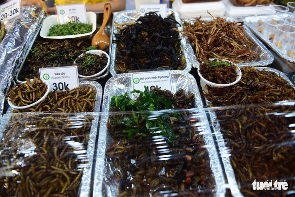 Insects as food on sale at the international food festival held at the Youth Cultural House in District 1, Ho Chi Minh City, November 14, 2019. Photo: Quang Dinh / Tuoi Tre