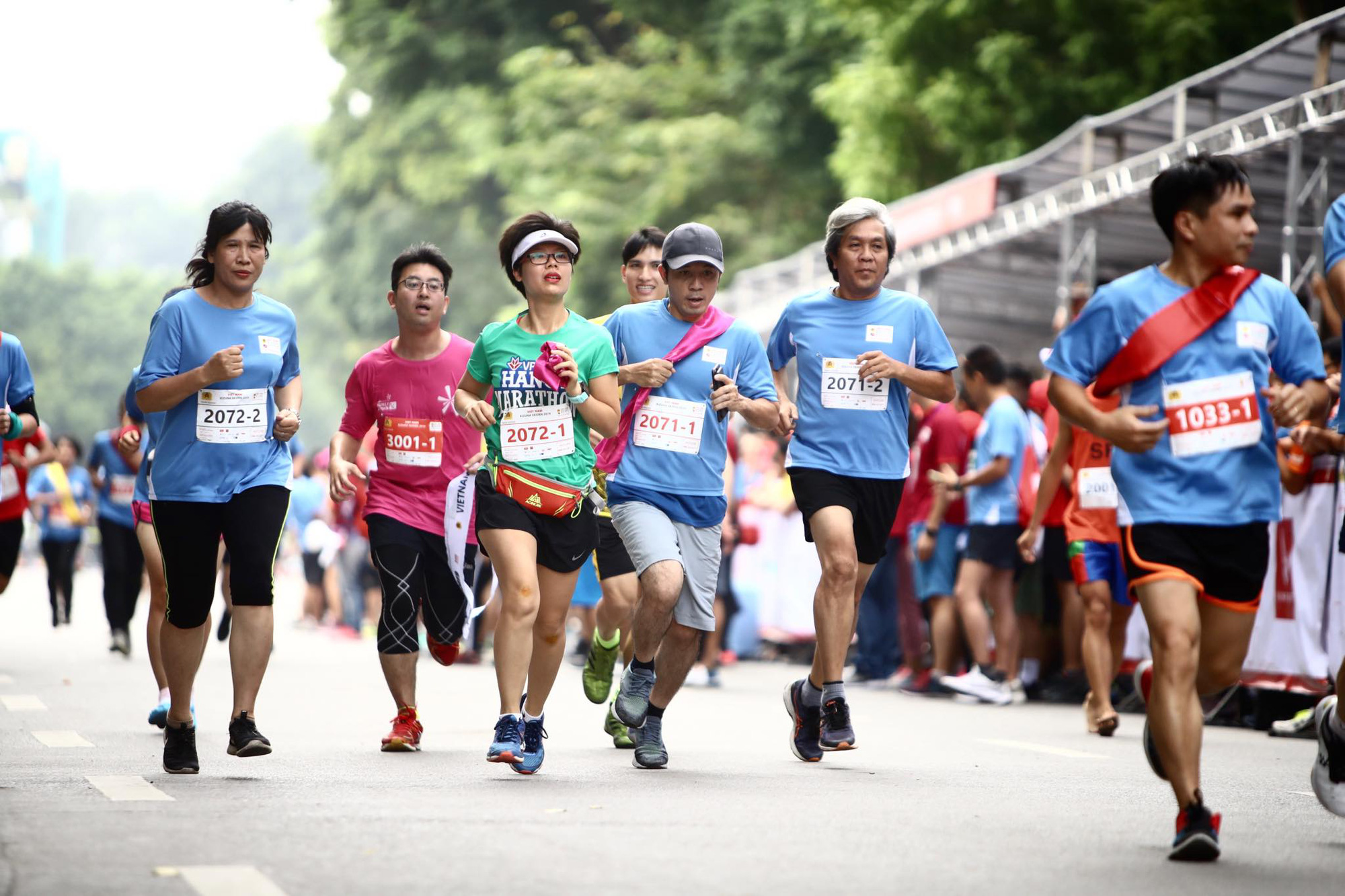 Runners are pictured during the relay race.