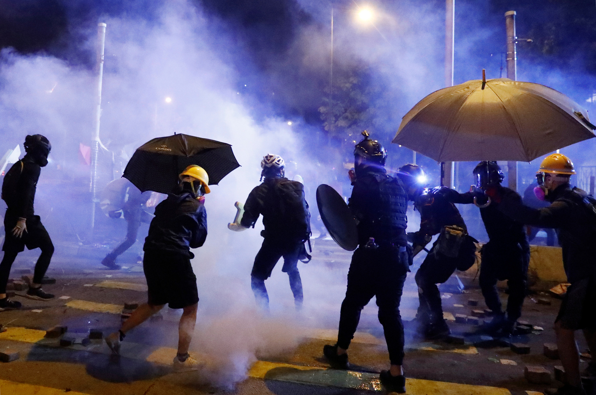 Chaos in front of the Chinese University of Hong Kong on November 16, 2019. Photo: Reuters