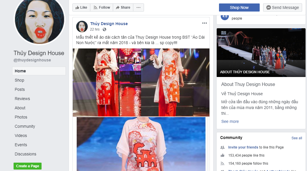 A screen shot captures the Vietnamese fashion designer Thuy Nguyen's post on her business' Facebook page.