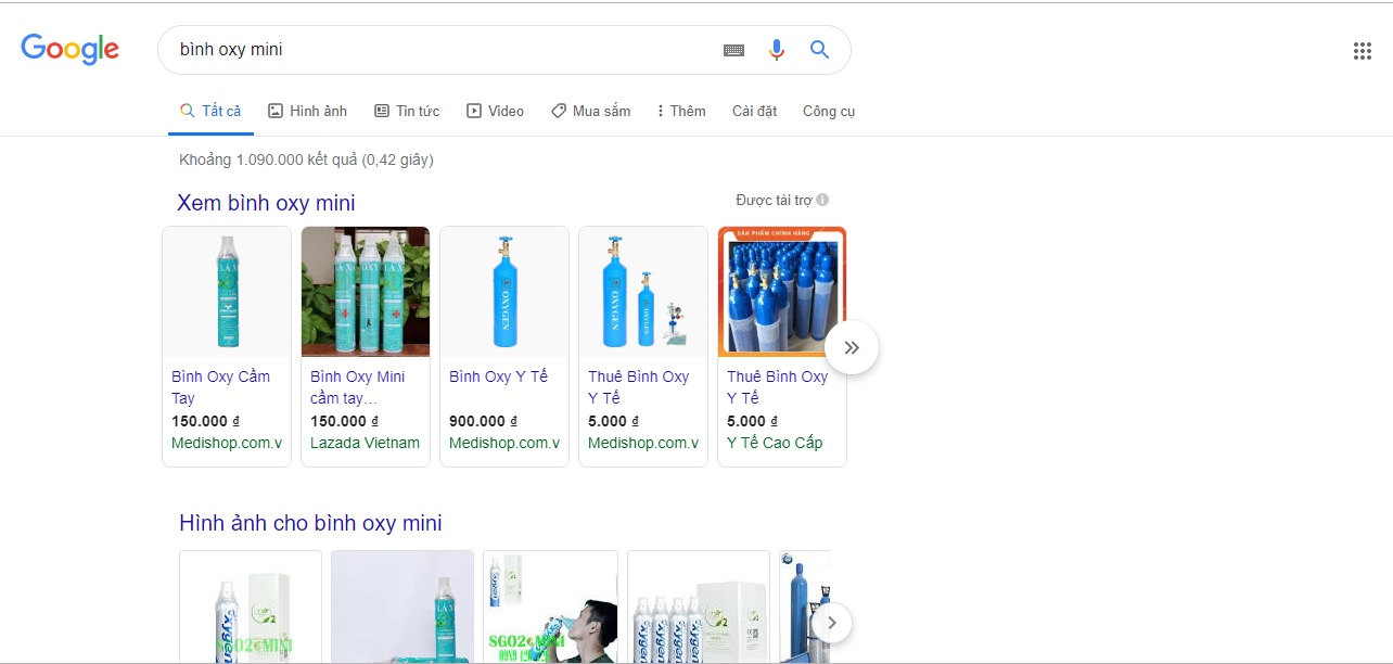 "A search query of ""portable oxygen canister"" in Vietnamese on Google Search shows 1.28 million results in this screenshot"
