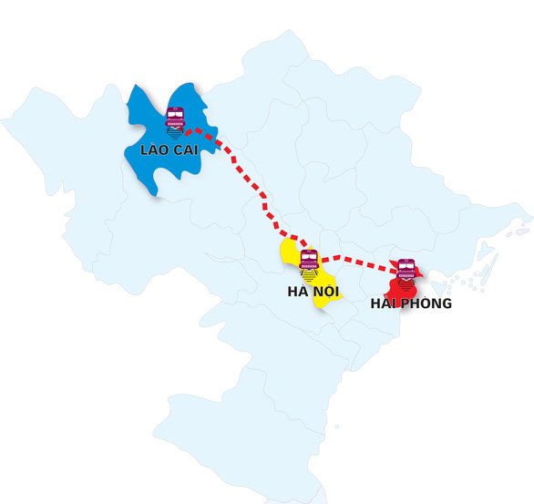 The projected route of oppose the Lao Cai – Hanoi – Hai Phong railway project. Graphic: Tuan Anh / Tuoi Tre