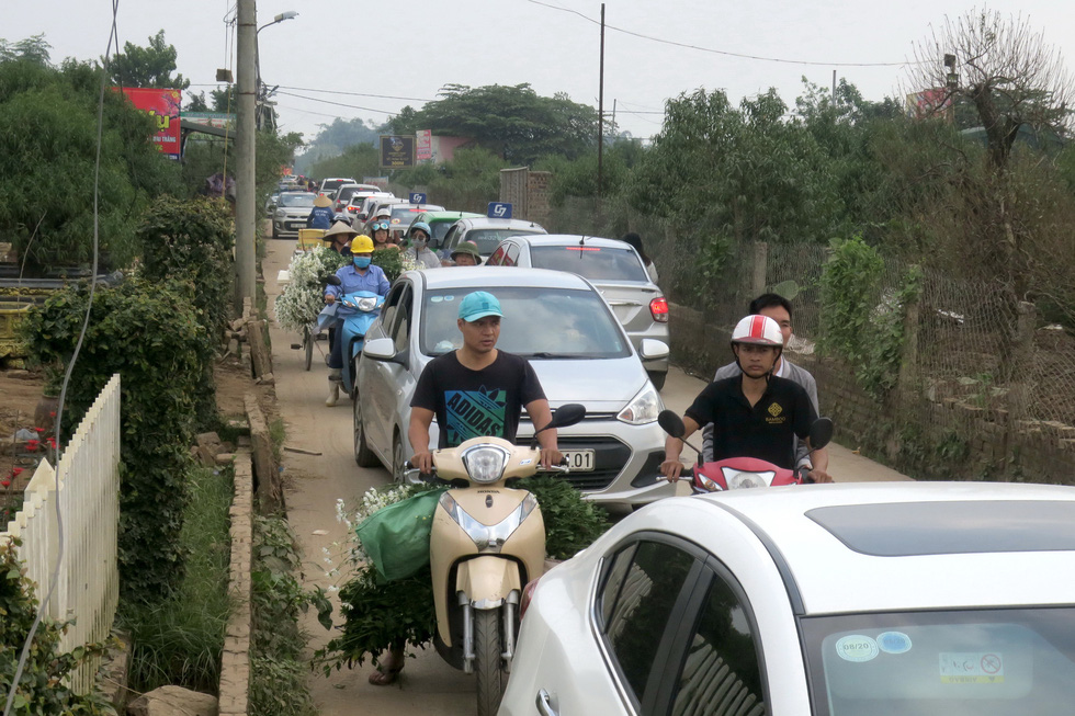 An alley leading to daisy gardens in Yen Phu Ward in Tay Ho District, Hanoi is packed with vehicles on a weekend. Photo: T.T.D. / Tuoi Tre