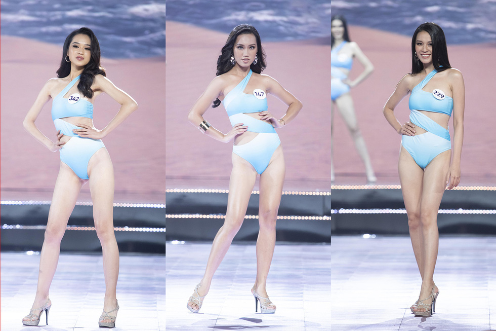 Contestants don swimwear at the semi-final of the Miss Universe Vietnam 2019 in Nha Trang, the south-central province of Khanh Hoa, on December 3. Photo: Tuoi Tre