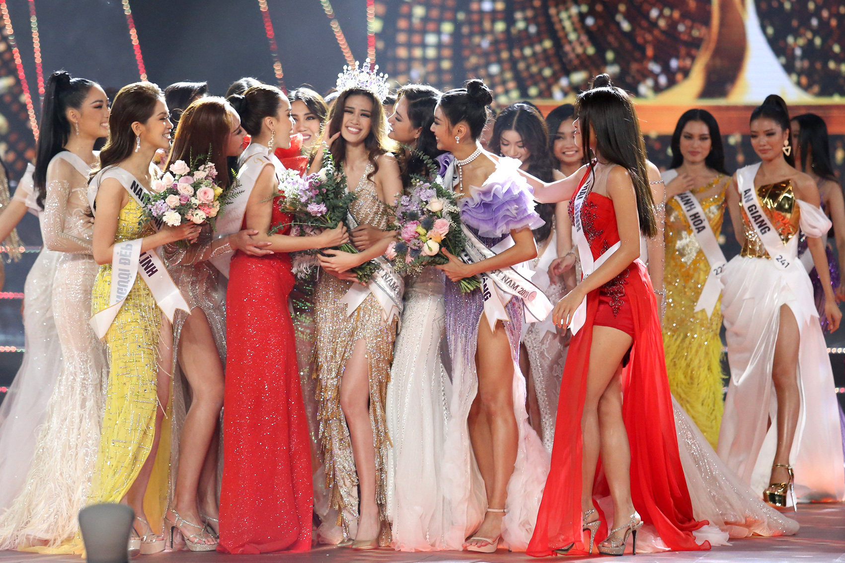 Contestants congratulate the newly crowned Miss Universe Vietnam 2019.