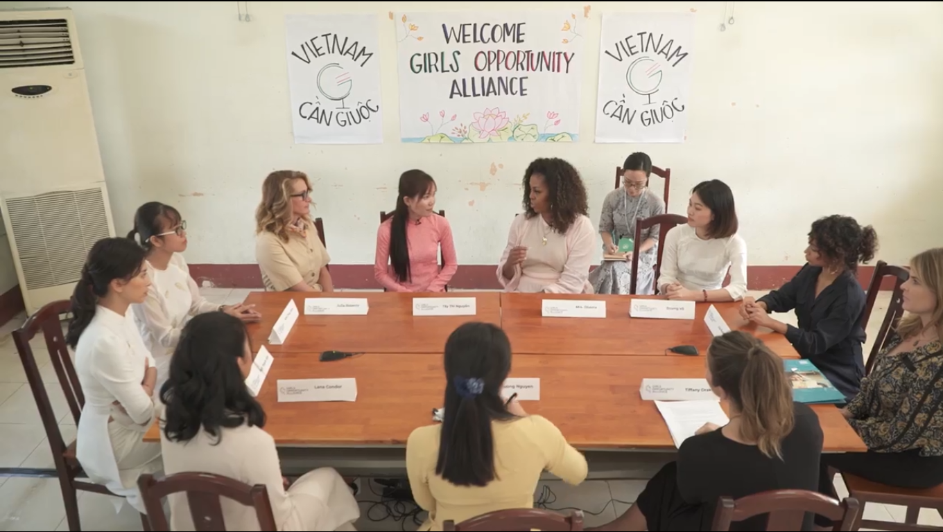 A screenshot from the video published on Michelle Obama's verified Facebook account on December 9,2019 shows former U.S. First Lady Michelle Obama's delegation meeting with young women in Long An, Vietnam the same day