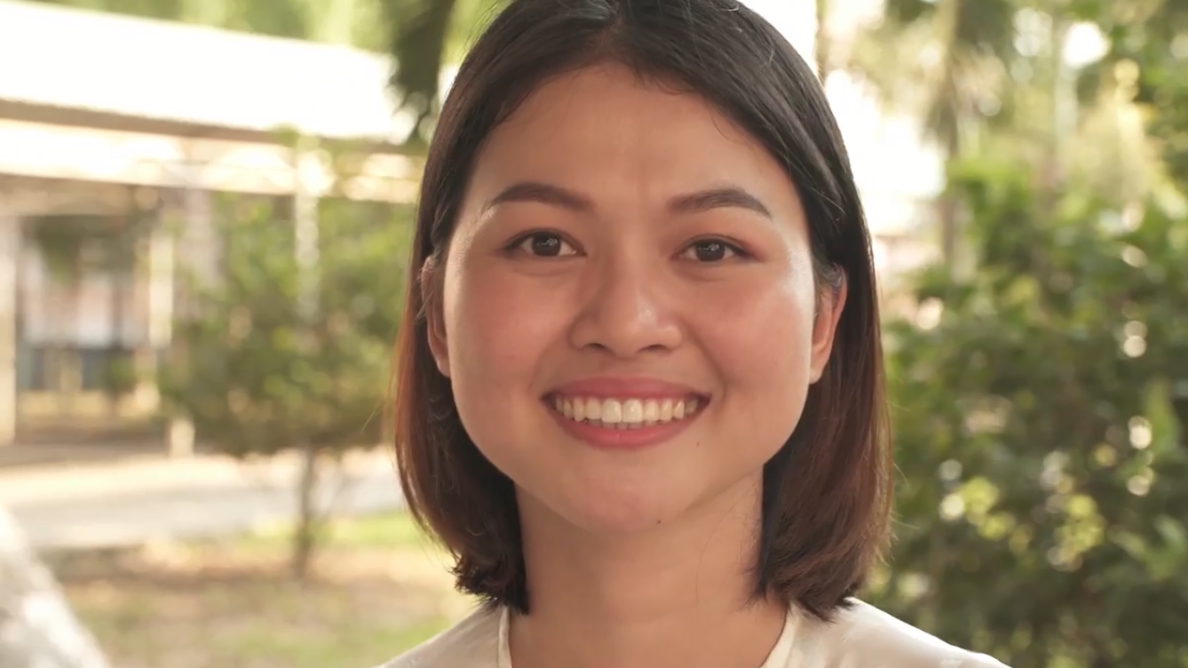 Thuy Dung is seen in a screenshot from the video published on Michelle Obama's verified Facebook account on December 9,2019