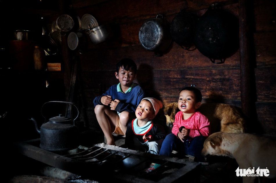 Three boys of the K'Ho ethnic group in Da Chais Commune in Lac Duong District